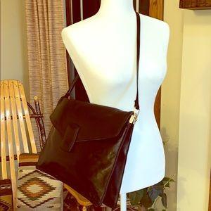 Classy career corner genuine leather black bag